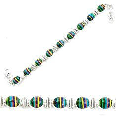 36.96cts natural multi color rainbow calsilica 925 silver tennis bracelet p70654
