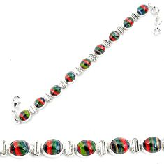 36.26cts natural multi color rainbow calsilica 925 silver tennis bracelet p70655