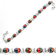 36.67cts natural multi color rainbow calsilica 925 silver tennis bracelet p70656