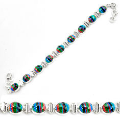 36.24cts natural multi color rainbow calsilica 925 silver tennis bracelet p70659