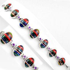 48.67cts natural multi color rainbow calsilica 925 silver tennis bracelet p89060
