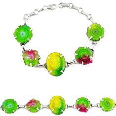 Natural multi color solar quartz slice druzy 925 silver bracelet jewelry h88033
