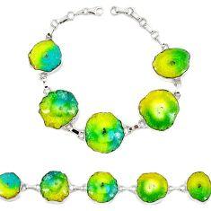 Natural multi color solar quartz slice druzy 925 silver bracelet jewelry h88037