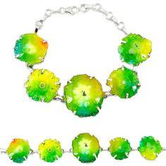 Natural multi color solar quartz slice druzy 925 silver link bracelet h88035
