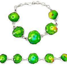 Natural multi color solar quartz slice druzy 925 sterling silver bracelet h88029