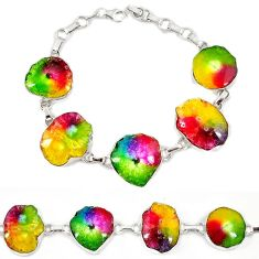 Natural multi color solar quartz slice druzy 925 sterling silver bracelet h88039
