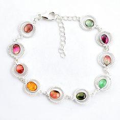 9.42cts natural multi color tourmaline 925 sterling silver bracelet p43434