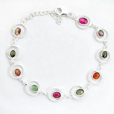9.10cts natural multi color tourmaline 925 sterling silver bracelet p43439