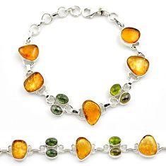 34.96cts natural multi color tourmaline 925 sterling silver bracelet p76724