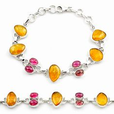 34.25cts natural multi color tourmaline 925 sterling silver bracelet p76730