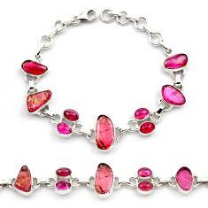 34.25cts natural multi color tourmaline 925 sterling silver bracelet p76739