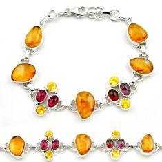 44.33cts natural multi color tourmaline citrine 925 silver bracelet p76735