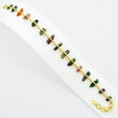 24.84cts natural multi color tourmaline rough silver gold tennis bracelet p75147