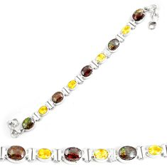 29.90cts natural multicolor ammolite (canadian) silver tennis bracelet p64383