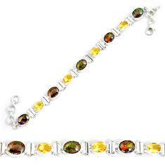 27.60cts natural multicolor ammolite (canadian) silver tennis bracelet p64386