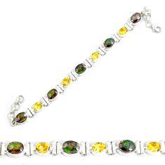 28.62cts natural multicolor ammolite (canadian) silver tennis bracelet p64390