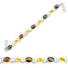 27.95cts natural multicolor ammolite 925 silver tennis bracelet p64384