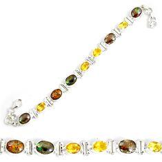 28.83cts natural multicolor ammolite 925 silver tennis bracelet p64387