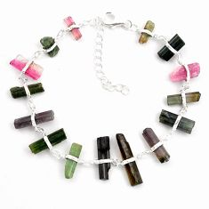 26.16cts natural multicolor tourmaline rough 925 sterling silver bracelet p43361