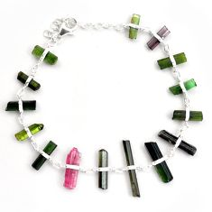 23.29cts natural multicolor tourmaline rough 925 sterling silver bracelet p43362