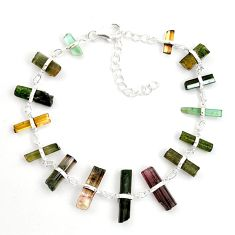 24.56cts natural multicolor tourmaline rough 925 sterling silver bracelet p43461