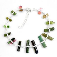 25.20cts natural multicolor tourmaline rough 925 sterling silver bracelet p43466