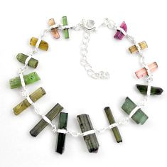 22.88cts natural multicolor tourmaline rough 925 sterling silver bracelet p43469