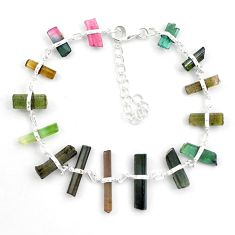 22.30cts natural multicolor tourmaline rough 925 sterling silver bracelet p43470