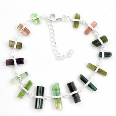 24.56cts natural multicolor tourmaline rough 925 sterling silver bracelet p43471