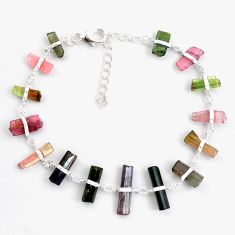 21.69cts natural multicolor tourmaline rough 925 sterling silver bracelet p43473