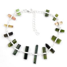 28.10cts natural multicolor tourmaline rough 925 sterling silver bracelet p43474