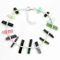 26.19cts natural multicolor tourmaline rough 925 sterling silver bracelet p43476