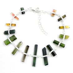 22.30cts natural multicolor tourmaline rough 925 sterling silver bracelet p43477