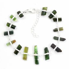 28.33cts natural multicolor tourmaline rough 925 sterling silver bracelet p43480