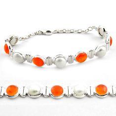 Natural orange cornelian (carnelian) pearl 925 silver tennis bracelet p81449