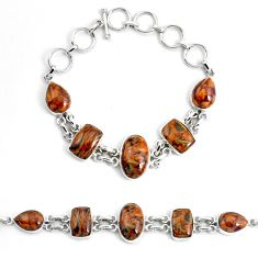 38.92cts natural pietersite (african) 925 sterling silver tennis bracelet p46016