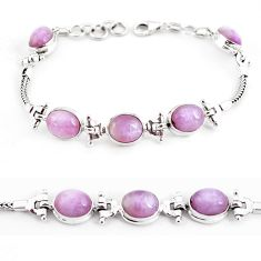 22.04cts natural pink kunzite 925 sterling silver tennis bracelet jewelry p54728