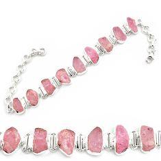 45.63cts natural pink morganite rough 925 sterling silver tennis bracelet p69063