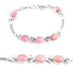 19.45cts natural pink opal 925 sterling silver tennis bracelet jewelry p54682