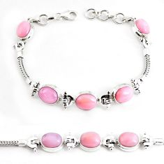 18.58cts natural pink opal 925 sterling silver tennis bracelet jewelry p54685