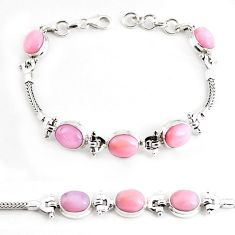 19.17cts natural pink opal 925 sterling silver tennis bracelet jewelry p54686