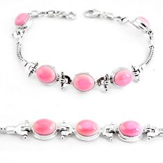 21.72cts natural pink opal 925 sterling silver tennis bracelet jewelry p54730