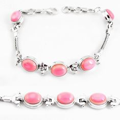 21.72cts natural pink opal 925 sterling silver tennis bracelet jewelry p54737