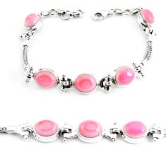 22.04cts natural pink opal 925 sterling silver tennis bracelet jewelry p54738