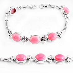 22.04cts natural pink opal 925 sterling silver tennis bracelet jewelry p54739