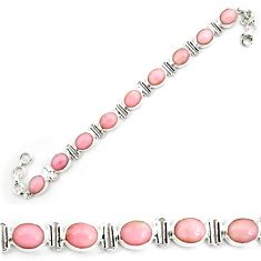38.91cts natural pink opal 925 sterling silver tennis bracelet jewelry p70683