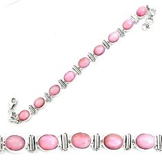 38.53cts natural pink opal 925 sterling silver tennis bracelet jewelry p70685