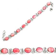 38.49cts natural pink opal 925 sterling silver tennis bracelet jewelry p70686