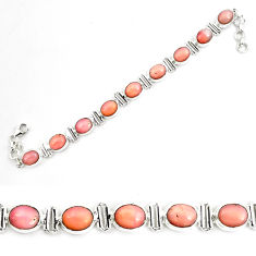 38.46cts natural pink opal 925 sterling silver tennis bracelet jewelry p70687
