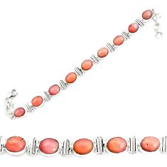 39.69cts natural pink opal 925 sterling silver tennis bracelet jewelry p70688